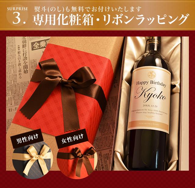 ワインは専用の化粧箱に入れてお届けします