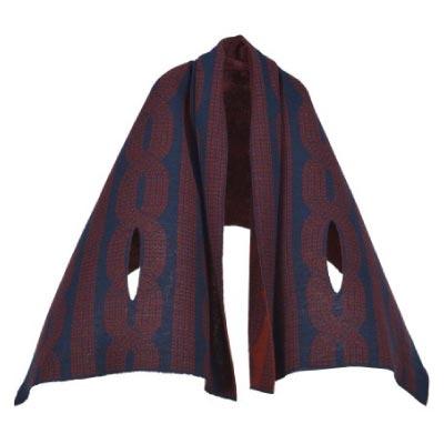[mino]nico 風を通すざっくり編み ツイード ネイビー
